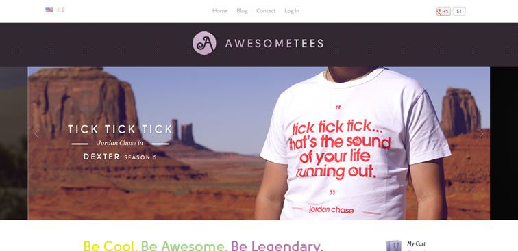 The Awesome Tees website example of Ecommerce web design