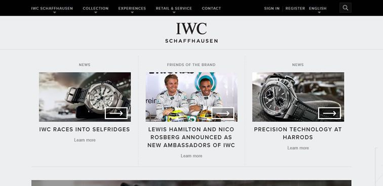 The IWC Schaffhausen website example of Ecommerce Sites design