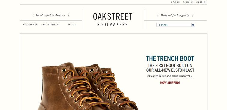 The Oak Street Bootmakers website example of Ecommerce web design