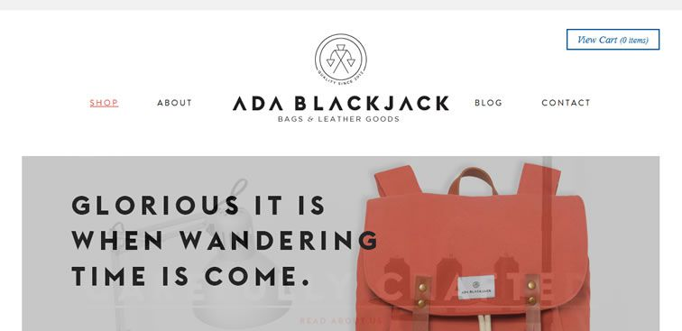 The Ada Blackjack Shop website example of Ecommerce web design