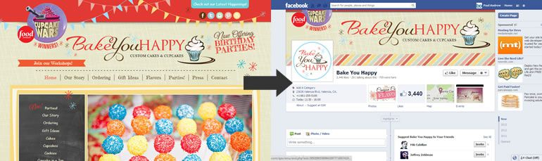 business on facebook page Bake you Happy