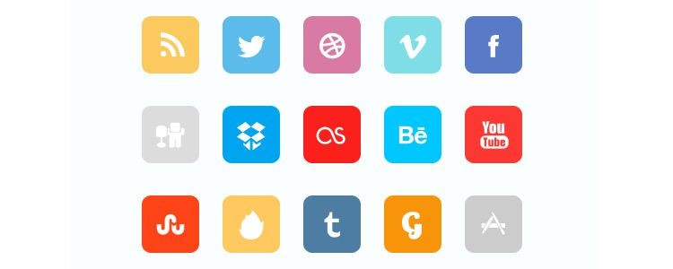 Flat Social Icon Set - PSD