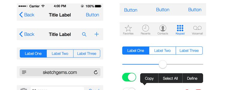 iOS 7 UI Kit - Sketch