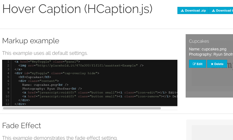 hcaptions jquery hover plugin captions open source