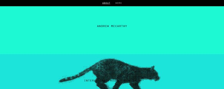 homepage of Andrew McCarthy inspirational example of modern minimalism in web design