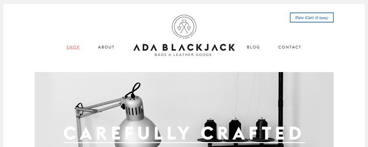 homepage of Ada Blackjack Shop inspirational example of modern minimalism in web design