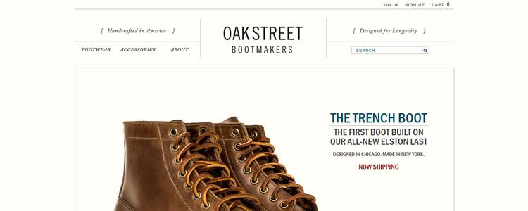 inspiration Oak Street Bootmakers example modern minimalist web design