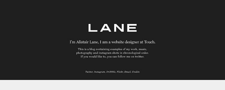 homepage of Alistair Lane inspirational example of modern minimalism in web design