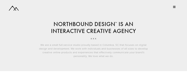 homepage of Northbound Design inspirational example of modern minimalism in web design