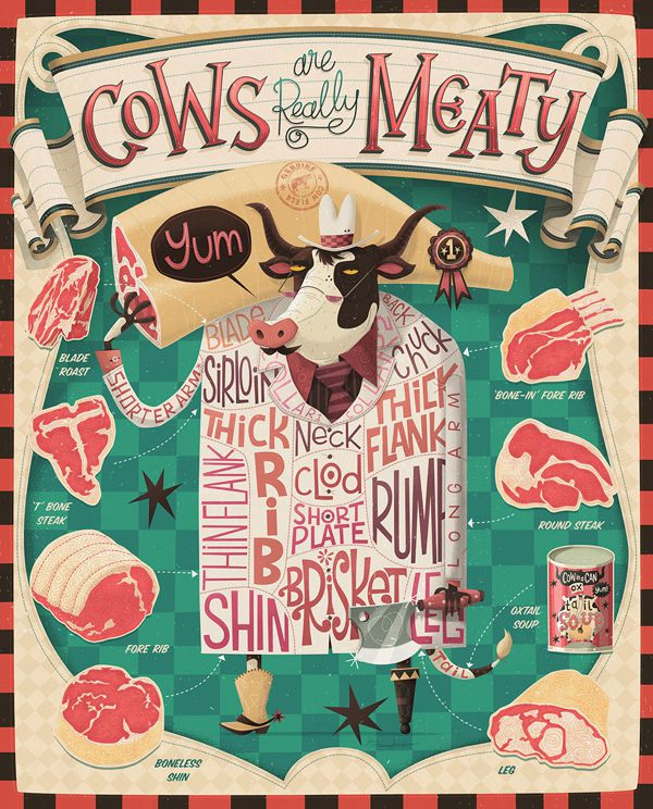 Cows are Really Meaty steve simpson illustration portfolio