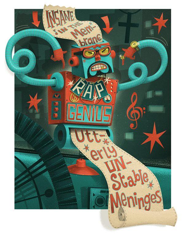 Rap Genius for Wired Magazine  illustration portfolio steve simpson
