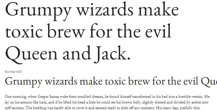 garamond web font typography google