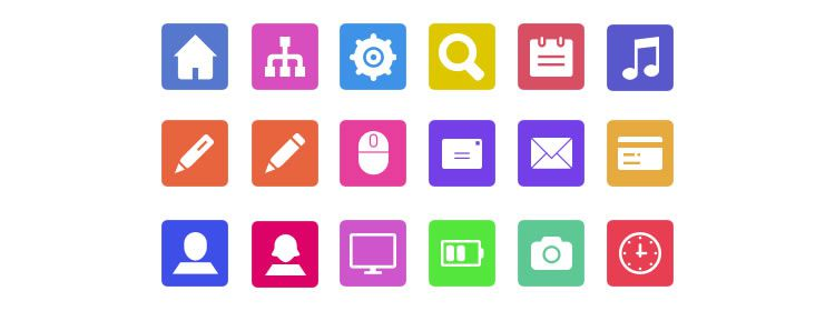 Flat Icons PNG & PSD