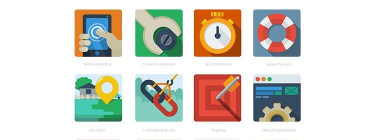 Flat SEO Icons PSD