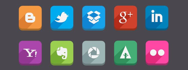 Long Shadow Social Media Icons PSD