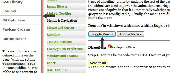 Side Toggle Menu allows you to add a side bar menu to your layout that slides in from the left or right
