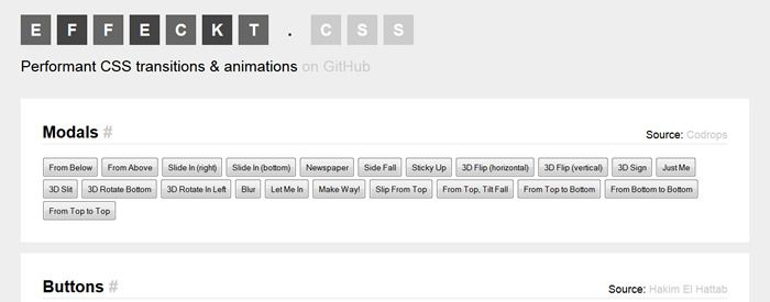 Effeckt.css - Performant CSS Transitions & Animations top 50 css tools resources 2013
