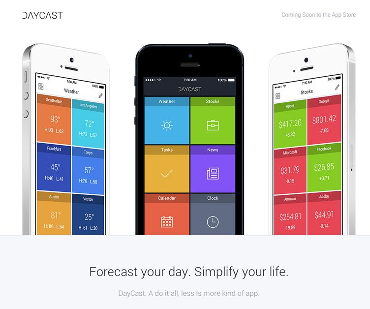 the website of Daycast is an inspirational example of a coming soon page