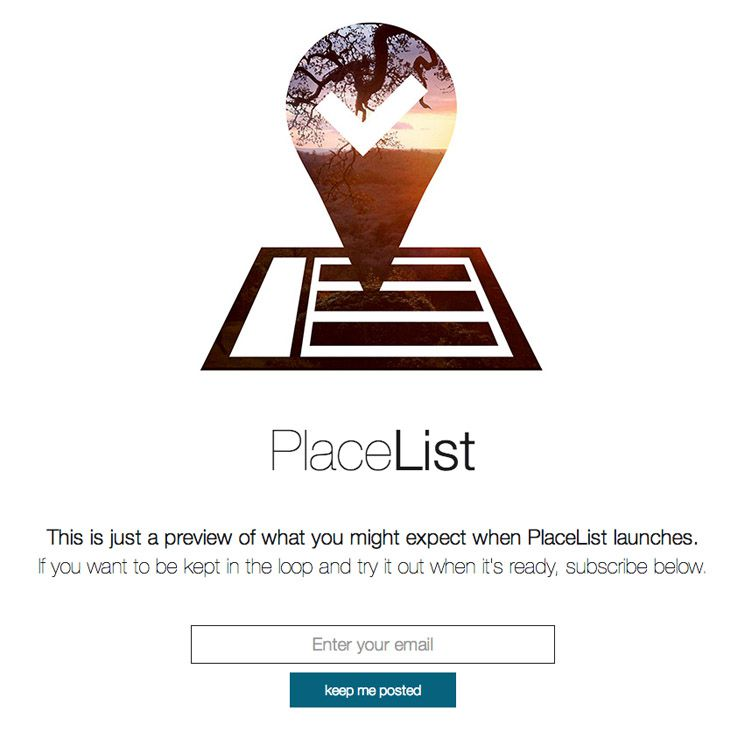 the website of PlaceList is an inspirational example of a coming soon page