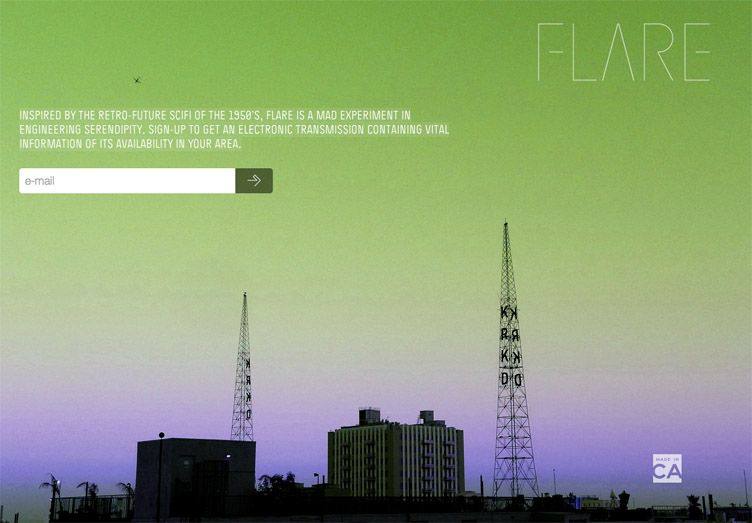 the website of Flare is an inspirational example of a coming soon page