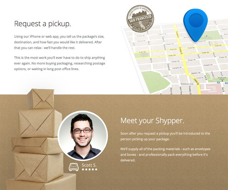 the homepage of Shyp is fantastic example of a launching soon webpage