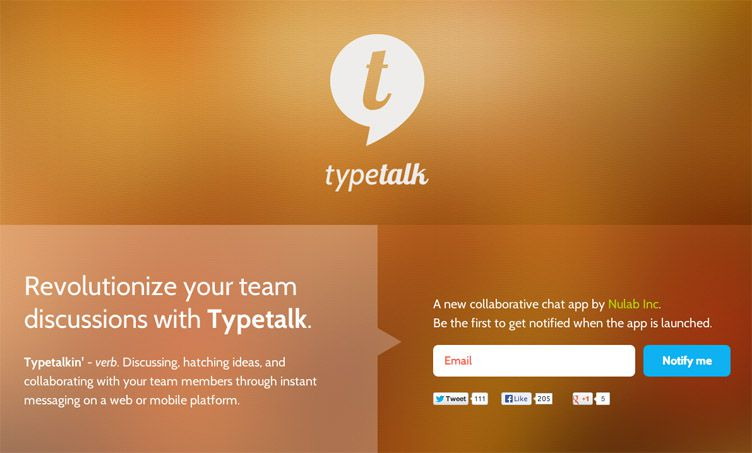 the homepage of Typetalk is fantastic example of a launching soon webpage