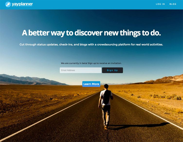 the homepage of YayPlanner is fantastic example of a launching soon webpage