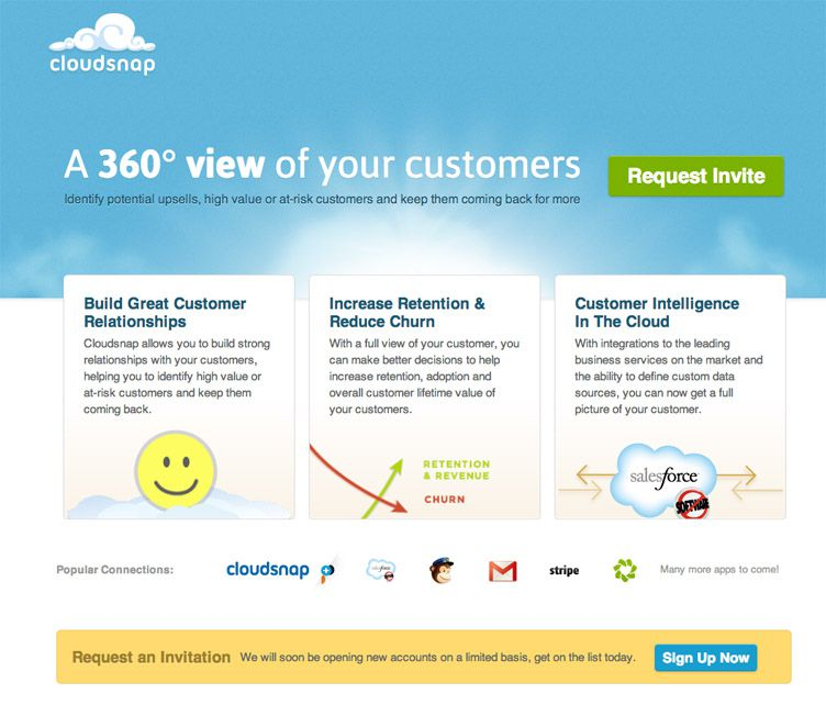 the website of Cloudsnap is an inspirational example of a coming soon page
