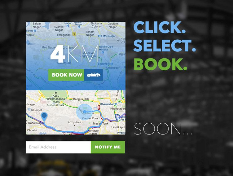 the homepage of Tap a Cab is fantastic example of a launching soon webpage