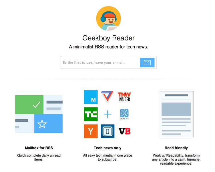 the website of Geekboy is an inspirational example of a coming soon page