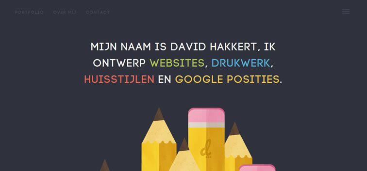 example creative portfolio of designer  David Hakkert