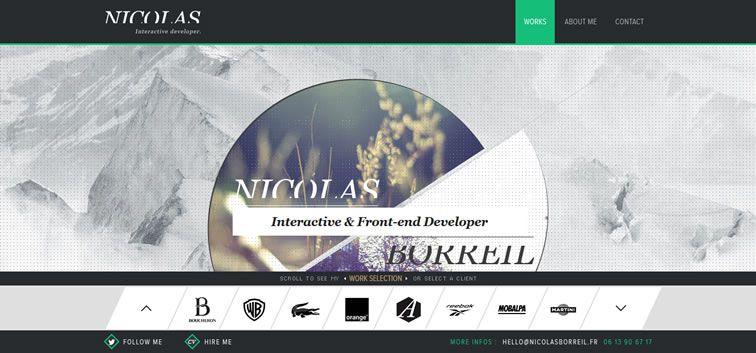 example creative portfolio of designer  Nicolas Borreil