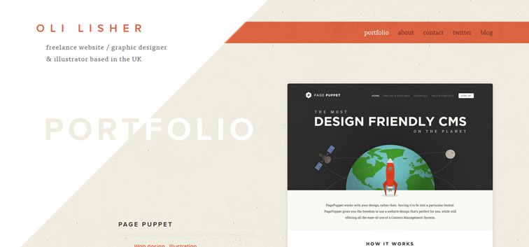 The web design inspiration portfolio of Oli Lisher
