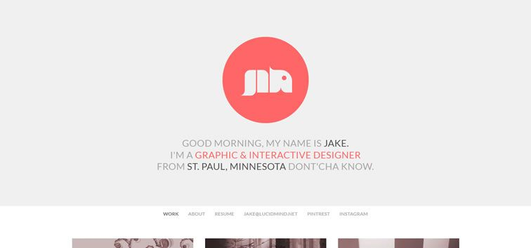 example creative portfolio of designer  Jake Lee Haugen