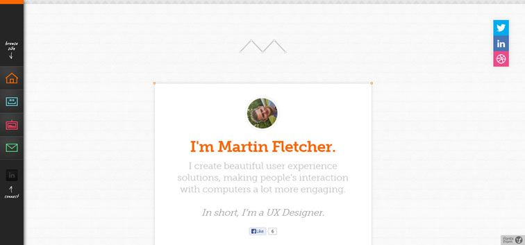 example creative portfolio of designer  Martin Fletcher