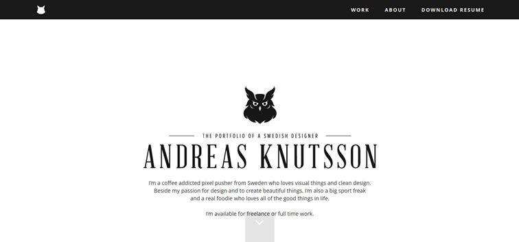 example creative portfolio of designer  Andreas Knutsson