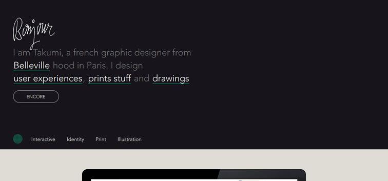 example creative portfolio of designer  Takumi Kobayashi