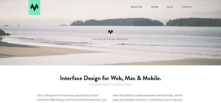 example creative portfolio of designer  Ivo Mynttinen