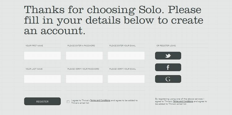 the inspirationally designed Signup Form from Solo