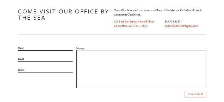 the original design Minimal Contact Form from Cobble Hill