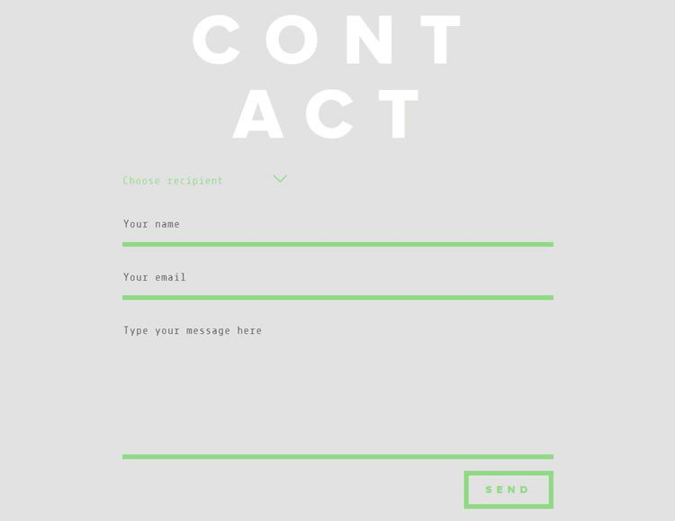 the original design Minimal & Bold Contact Form from Ola Kvernberg
