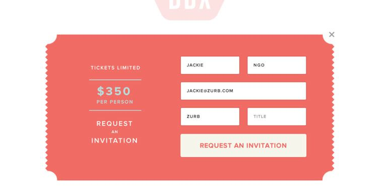 the inspirationally designed Sign Up Modal Form from Dropbox - DBX