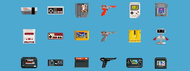8-Bit Retro Game Console Icons