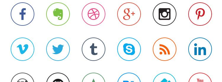 Social Media Icons free 20 Icons in PNG Format