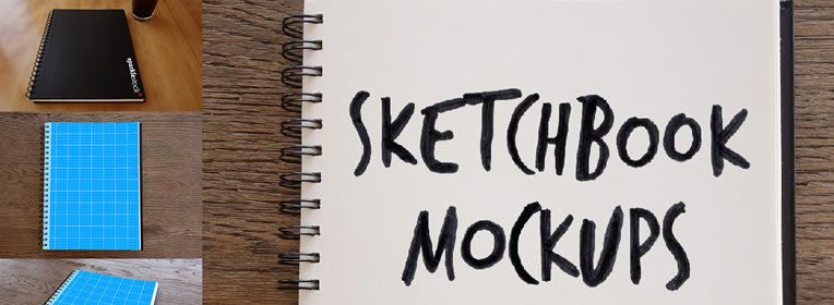 Photorealistic Sketchbook Mockups free PSD Format