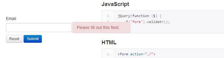 Validatr HTML5 input attributes perform validation