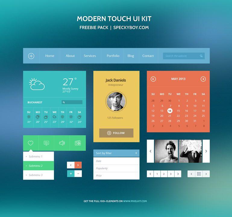 Freebie: Modern Touch UI Kit (Photoshop PSD)