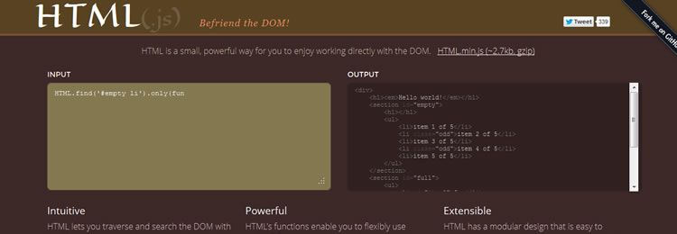 HTML.js is an An Extensible Library To Help You Enjoy the DOM