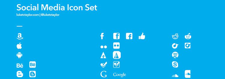glyph pictogram social media icon sets