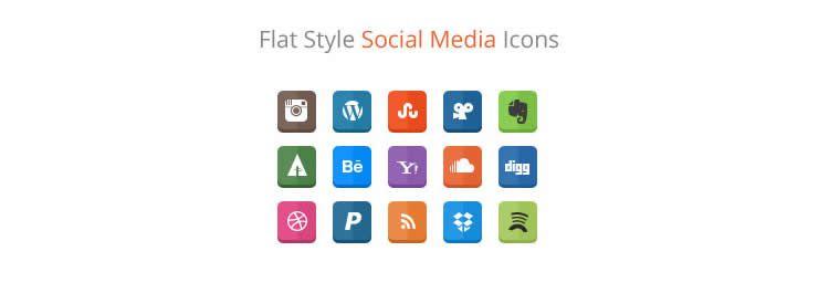 flat social free icons media
